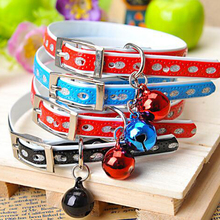 Cat Kitten Dog Pet Collars Bell Leather Adjustable Cute Collar Random Color(China (Mainland))