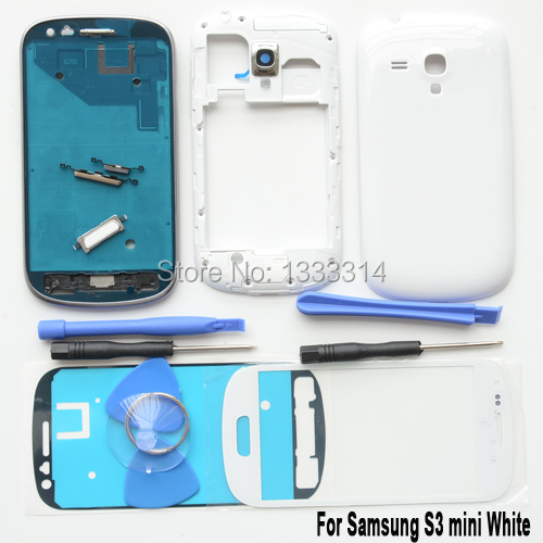 Original For Samsung S3 SIII mini GT-i8190 White Full Housing Case Cover Replacement & front glass &Adhesive& tools(China (Mainland))