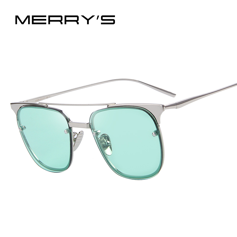 MERRY'S Women Classic Brand Metal Cool Sun Glasses Half frame Sunglasses Colorful Reflective lens Alloy Legs Eyeware S'8025(China (Mainland))