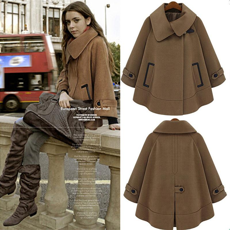 Women Cloak Blend Trench Coat 2016 Winter Plus Size S-XXXL Fashion Style Warm Cashmere Coat(China (Mainland))