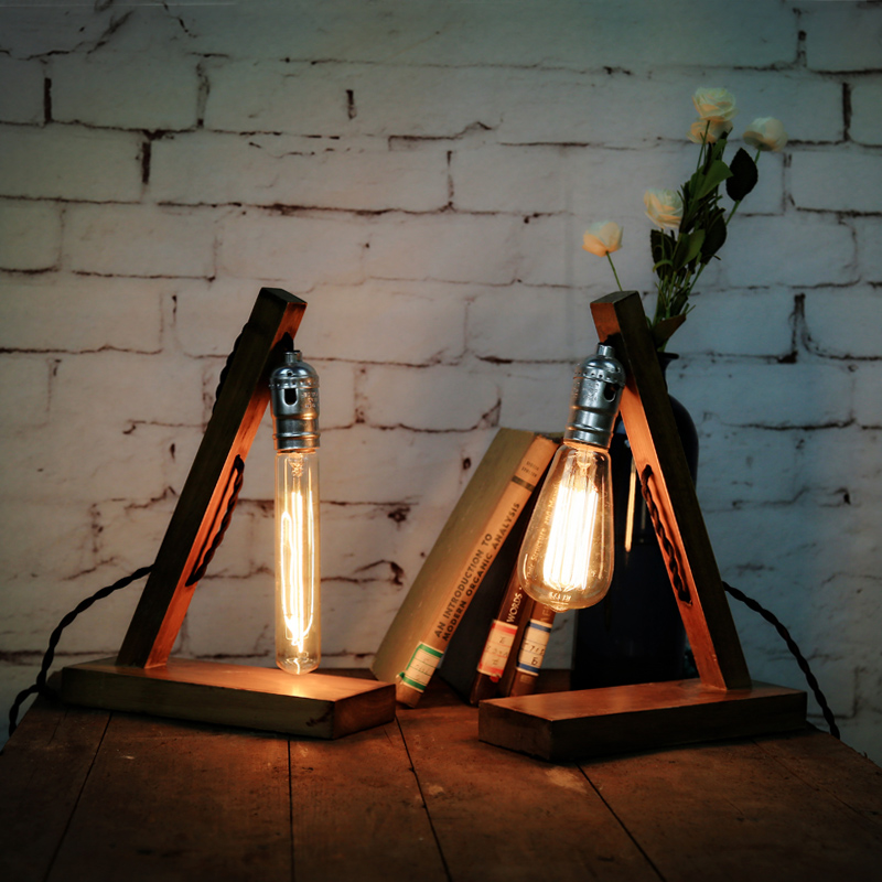 New Arrival Modern personality Edison bulb light wood table lamp retro Coffee hall book desk lamp fixture lighting free shipping(China (Mainland))