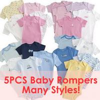 Free Shipping Hot selling 5pcs Newborn Kids Baby Girls Boys Cotton Cartoon Romper Jumpsuit Short Sleeve One Piece Clothes 3M-12M