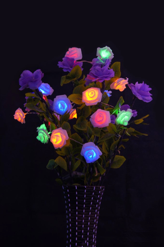 Colorful String Lights : Aliexpress.com : Buy colorful LED rose flower light;20pcs per string;with battery box(battery ...