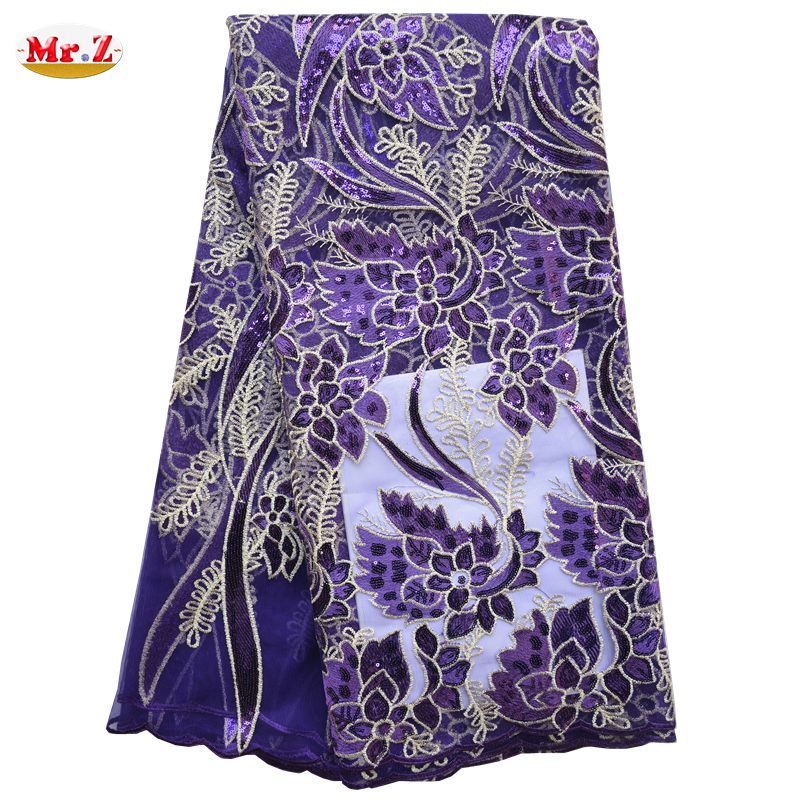 Mr.Z High Quality African Tulle Lace Fabric African French Lace Fabric High Quality Mesh Embroidery Fabric With Sequin For Women(China (Mainland))