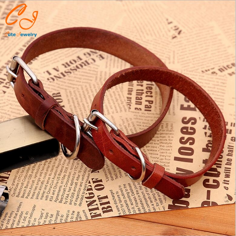 High Quality Head Layer Cowhide Dog Necklace Genuine Leather Pet Necklace Large MIddle Small Dog Chain Pet Assesories(China (Mainland))