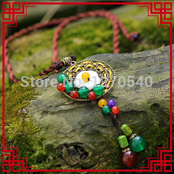fashion turquoise vintgae chinese wind ethnic necklace green,new art Chrysoprase necklace,handmade antique brass shell necklace(China (Mainland))