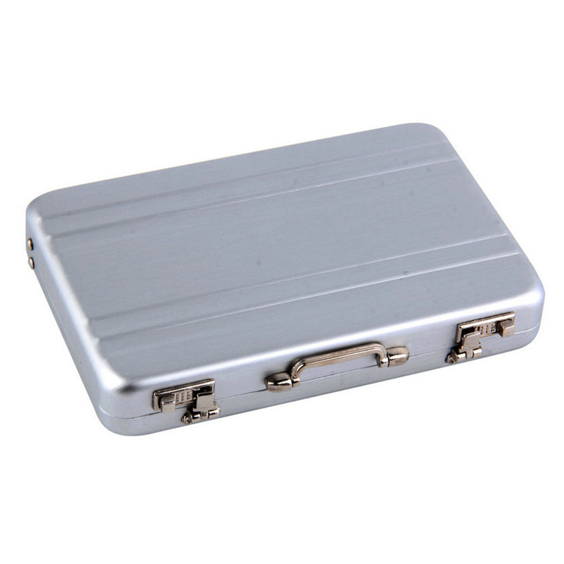 1pc Mini Briefcase Business Card Case ID Holders Password Silver color Aluminium Credit Case Box 2016 popular Worldwide sale(China (Mainland))