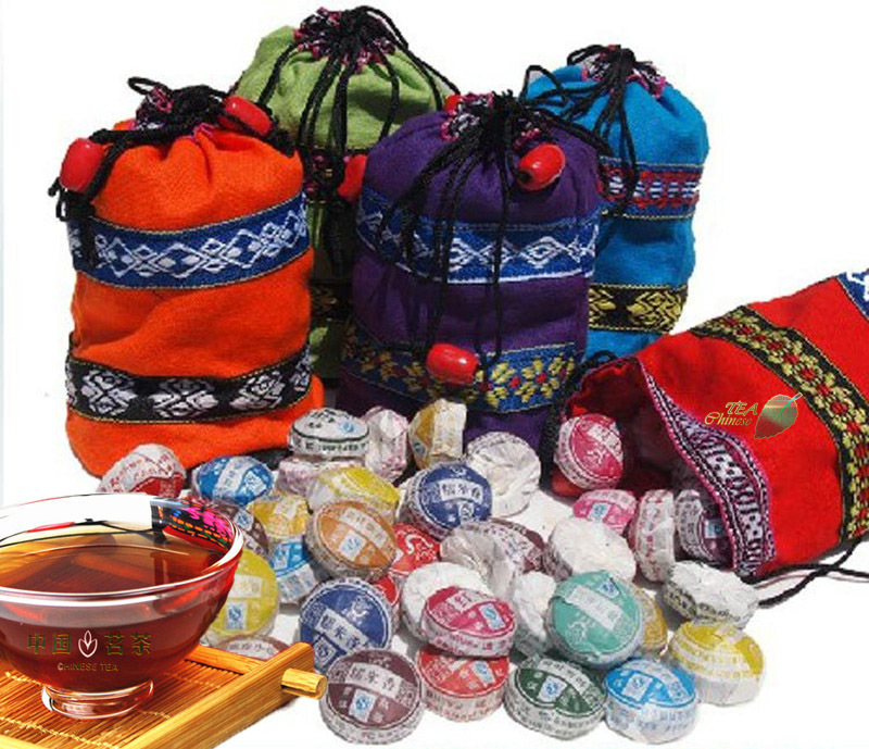 50 Pcs Different Flavors Tea Chinese Top-Grade Raw and Cooked Pu'Er Tea,Yunnan Puer tea,Slimming Mini Pu'erh Tuocha+Secret Gift(China (Mainland))