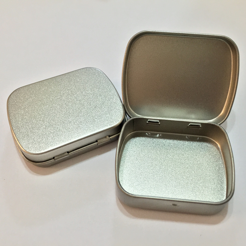 20pcs 62*50*17mm silver rectangle mini tin box with hinge,hinged plain muji metal storage case almond mint tablets pills gum(China (Mainland))