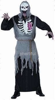 Оптовая продажа - горячая распродажа Новый стиль хэллоуин косплей костюм ну вечеринку одежда для взрослого человека трикотажные черные с капюшоном черепа костюм мини-150m
