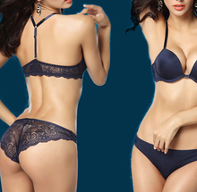 wholesale black lace solid front closure Y-line straps women's sexy push up bra set free shipping