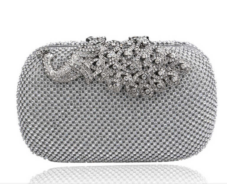 New Listing gold clutch full diamond peacock clasp silver evening bags Luxury rhinestone clutches purses and handbags women bag