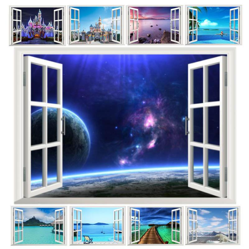fantastic window space landscape castle sea wall stickers home decoration living room bedroom festival gifts decals mural arts(China (Mainland))