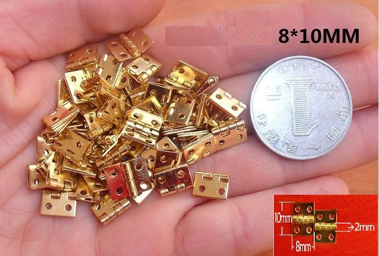 Wholesale 100pcs/lot Mini Cabinet Drawer Butt Hinge copper gold small hinge 4 small hole 8*10 copper hinge With screw<br><br>Aliexpress