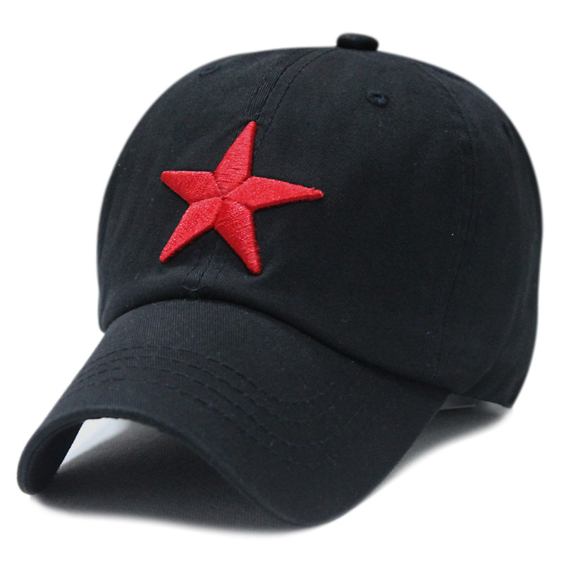 Washed cotton red star baseball cap pentagram embroidery leisure hat 6color 1pcs brand new arrive(China (Mainland))
