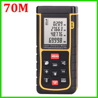 Free Shipping X70 70m Laser distance meter with bubble level Tape tool Rangefinder Rang finder measure Area/Volume OEM Wholesale