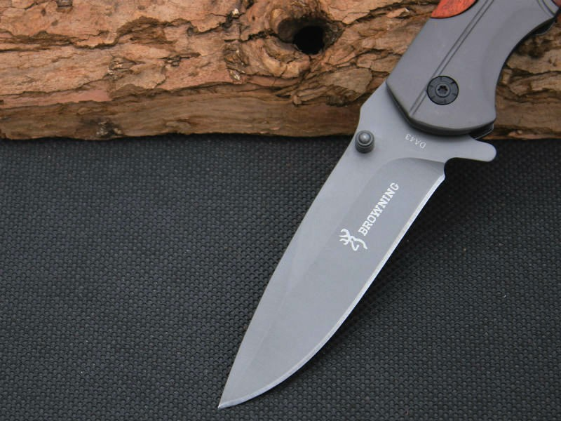 Buy BROWNING Folding Knife Survival Knifes 440C Steel Blade Wood Handle Pocket Hunting Tactical Knives Camping Outdoor EDC Tools X49 cheap