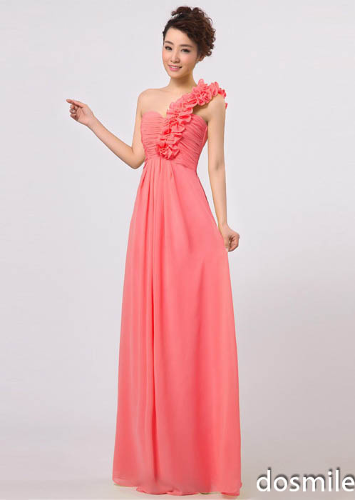 2016 fashion empire ruffles one shoulder coral colored for Plus size coral dress for wedding