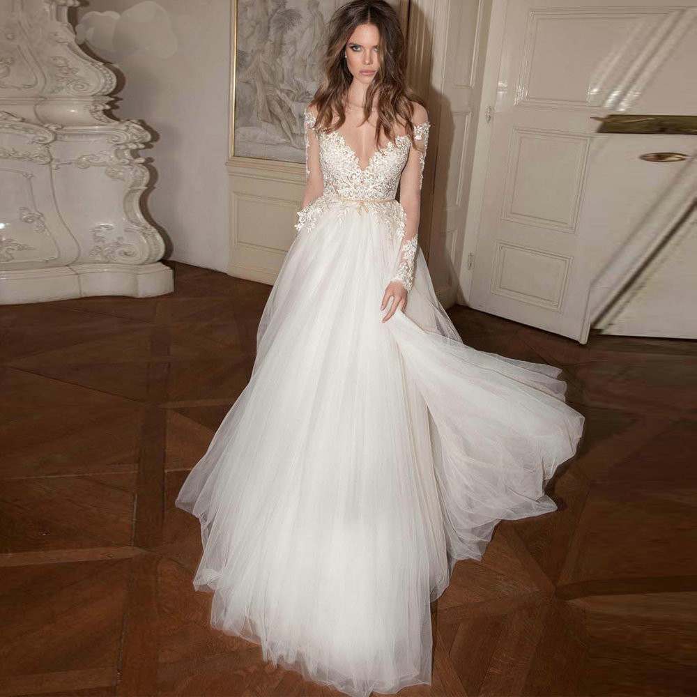 Charming a line tulle long sleeves wedding dress 2015 v for Tulle wedding dress with sleeves