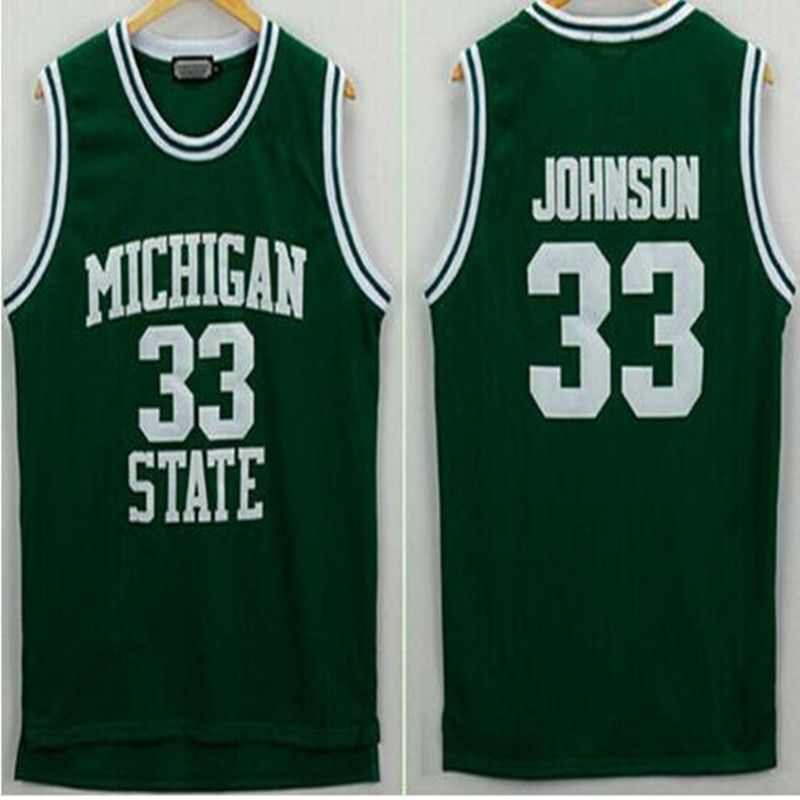 Men's Michigan State Spartans Magic Johnson Jerseys 33 University College Basketball Shirt Green Color White Cheap Best Quality(China (Mainland))