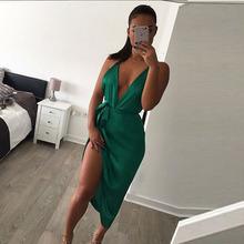 Buy Sexy Women 2016 Backless Bodycon Pencil Dress irregular Woman New Arrival satin Deep V Neck Side slit Halter Dress Vestidos for $14.81 in AliExpress store