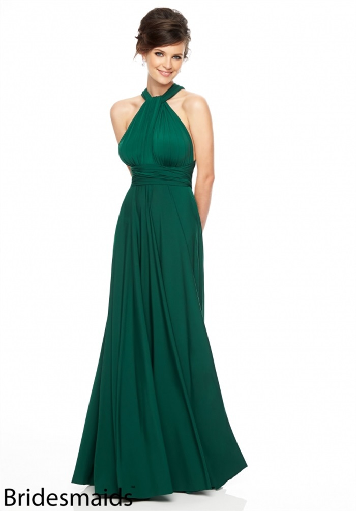 High Fashion Sexy Backless Emerald Green Bridesmaid Dresses 2015 Halter Neck Party Gowns A Line