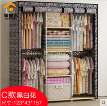 Free shipping! Large cloth wardrobe Large steelframe hanging clothes cabinet simple wardrobe folding home wardrobe(China (Mainland))