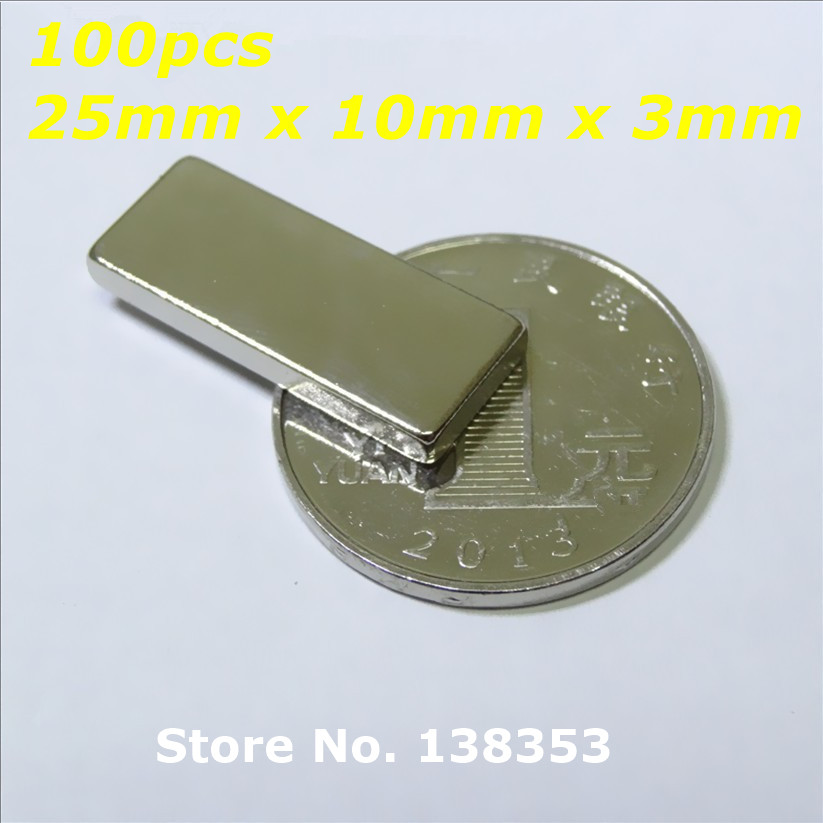 Wholesale 100pcs Super Strong Neodymium Rectangle Block Magnets 25mm x 10mm x 3mm N35 Rare Earth NdFeB Cuboid Magnet<br><br>Aliexpress