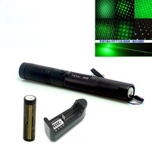 Laser 303 200mW Green Laser Pointer Adjustable Focal Length and Star Pattern Filter+4000MAH 18650 Battery+charger(China (Mainland))