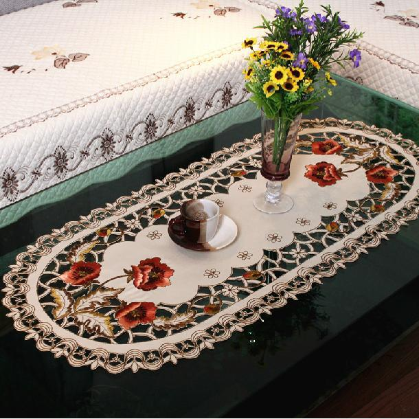 40 85cm Oval European Embroidery Table Cloth Tablecloths Hollow Coffee Table Cloth Table