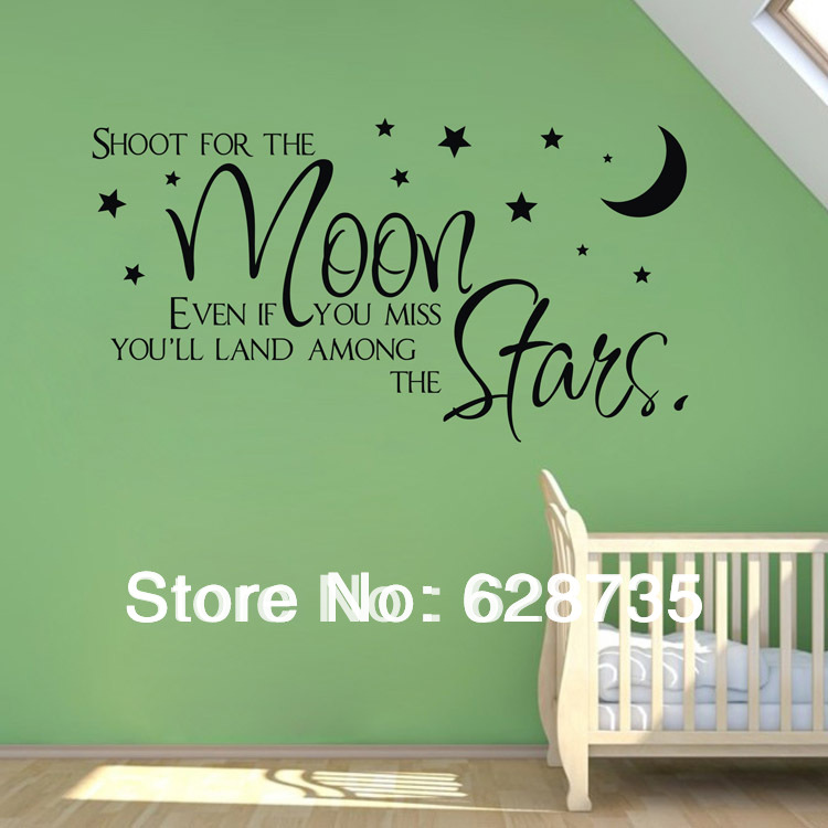 Sale On Ebay Shoot For The Moonstars Quote Wholesale Wall : baby wall decals quotes - www.pureclipart.com