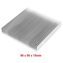 New 1 pcs Silver 90x90x15mm Aluminum Heat Sink Radiator Heatsink for IC LED Electronic Chipset heat dissipation Free Shipping