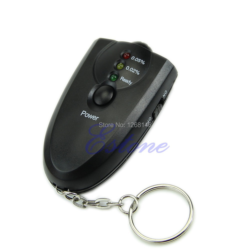 S111 Free Shipping 1 Pieces New Breathalyzer Keychain Led Breath Alcohol Tester With Flashlight(China (Mainland))