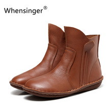 Whensinger - August New Arrvial Women Genuine Leather Fashion Boots Fashion Shoes Zip Design Size 35-42 for Autumn Winter 5062(China (Mainland))