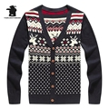 Wholesale men s Casual Knit Cardigan Cotton Winter Fashion v neck Christmas Reindeer Sweater For Men