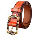 Hot 2017 Genuine Leather Women Belt Fashion Vintage Metal Embossing Leather Belts for Women Strap Female