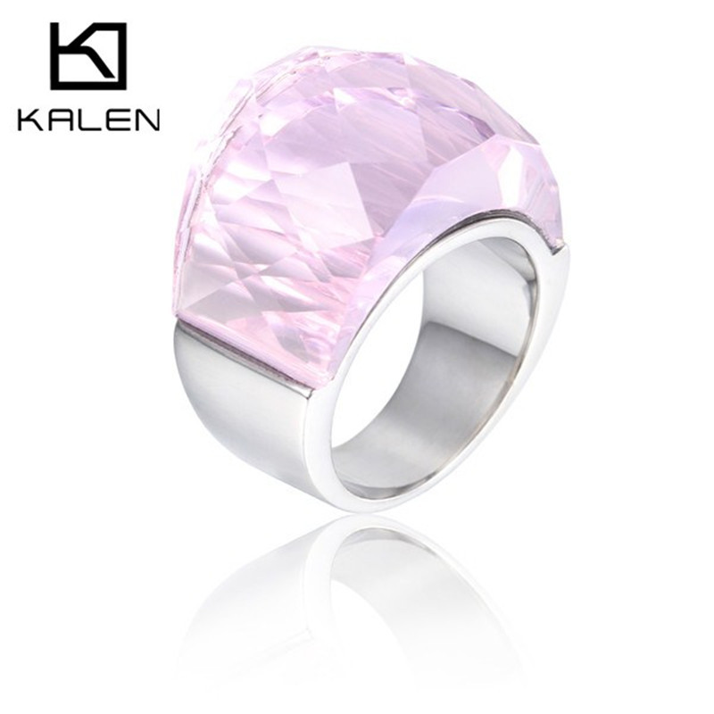 Elegant jewelry italian stainless steel rings with pink glass setting engagement wedding rings for bride women(China (Mainland))