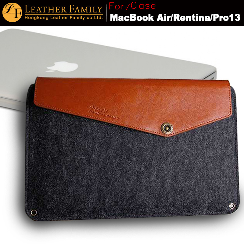 new Genuine Cow Leather Woolfelt Sleeve Pouch Bag for MacBook Air 13.3 Rentina Pro 13 Cases &amp; table accessories color dark grey<br><br>Aliexpress