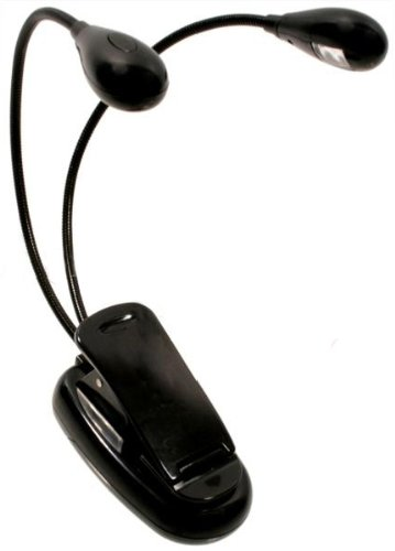 Flexible Dual Arm LED Clip,on Lamp / Light For Book / Kindle Reading , Black(China (Mainland))