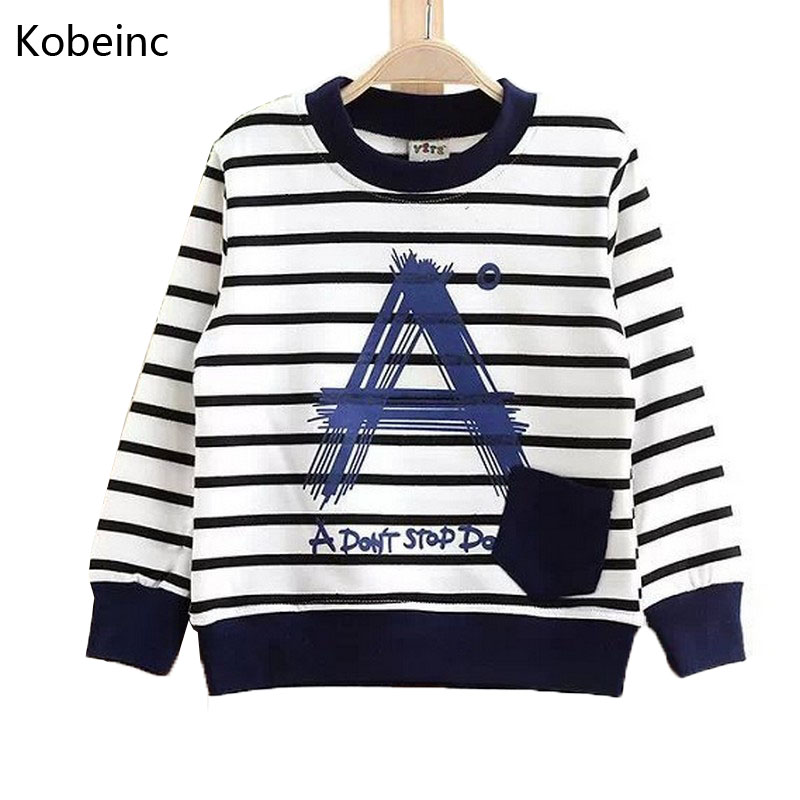 2016 Autumn Children Sweatshirts Cotton Boys Hoodies 2-7Y Kids Clothes Stripe A Pocket Moleton Infantil Long Sleeve Boy T Shirt(China (Mainland))