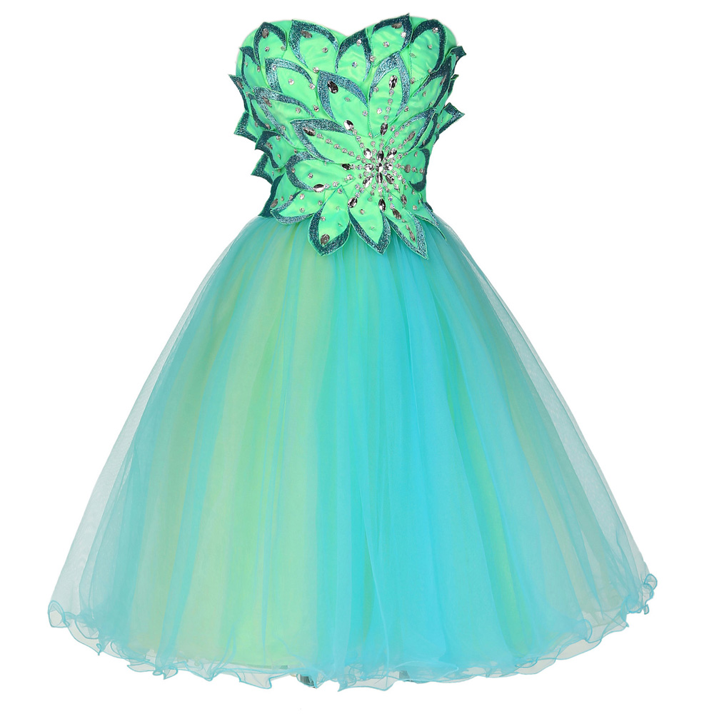 Cocktail Dresses 2016 Sexy Strapless Tulle Ball Gown Lace Up Beaded Coctail Dress Grace Karin Green Knee Length Cocktail Dress(China (Mainland))
