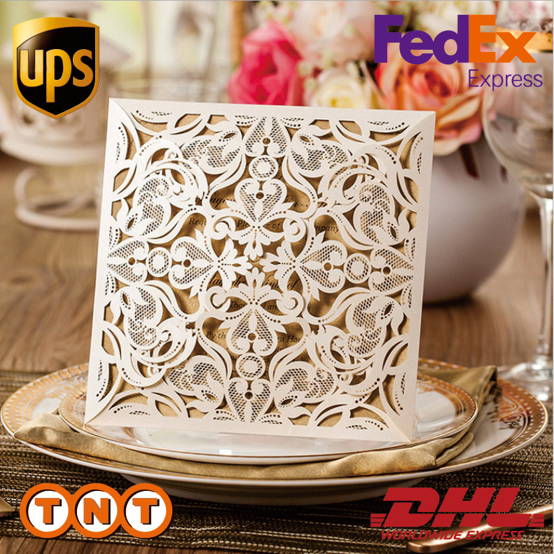 100pcs Square Beige Laser Cut Lace Flower Invitations Cards for Engagement Wedding Birthday Graduation Anniversary,CW519(China (Mainland))