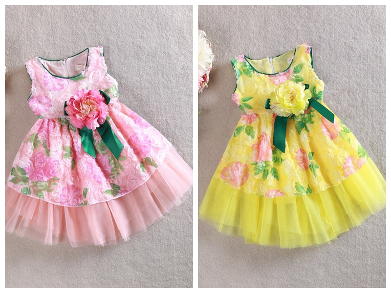 2015 New Summer Baby Girl Child Kids Party Wedding Dance Princess Ball Gown Prom Rose Flower Print Appliques Tutu Dress S0140238(China (Mainland))