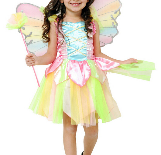 Kids Clothes Newest Girls Cosplay Dresses Polyester Colorful Toddler Dress With Wings Children Clothes For Summer Best Selling(China (Mainland))