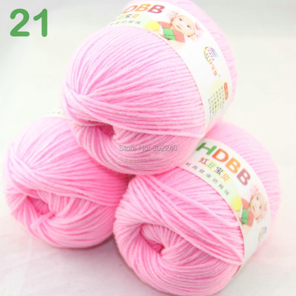 Sale Lot of 3 balls x 50g 60% Cotton Milk protein Velvet Hand knitting pink 7421(China (Mainland))