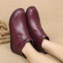 Xiuteng 2019 Mới Da Mẹ Vải Cotton Ngắn cho Nữ Giày chống Trơn Trượt Da Thật Chính Hãng Da Phẳng Giày Phẳng nữ giày Trong Mùa Đông(China)
