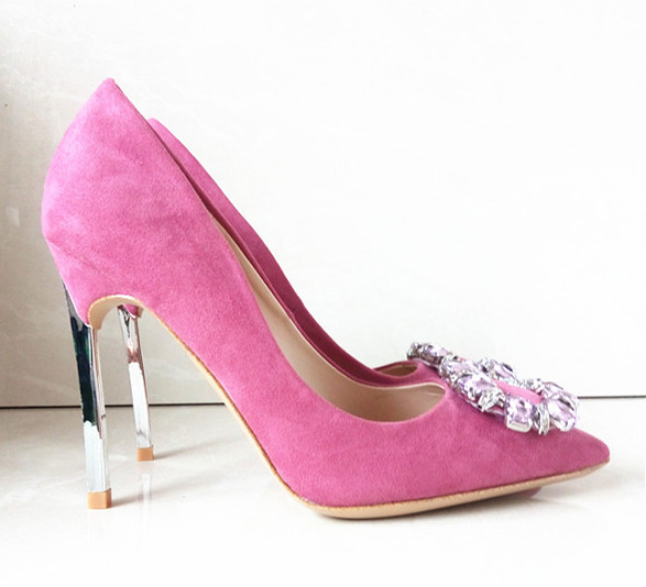 "10CM 4"" Silver High Heels Pink Purple Pumps Women's Fashion Wedding Sexy Shoes Flock Material Shoes Women Brand Pumps R-001(China (Mainland))"