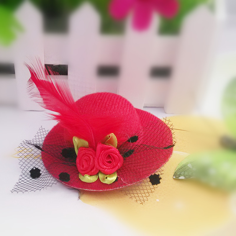 M MISM 2017 New Style Cute Hat -shaped Flower Adornment Girls Feathered Hat Hair Clips Girl's Hair Accessories Fashion Hairpins(China (Mainland))