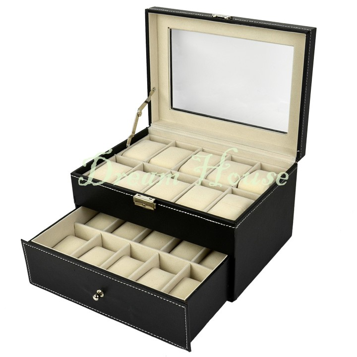 2015 New Black 20 Grids Large Watch Box Watch Display Case Jewelry Pins Earrings Rings Necklace Organizer Box GLASS TOP NEW 51(China (Mainland))
