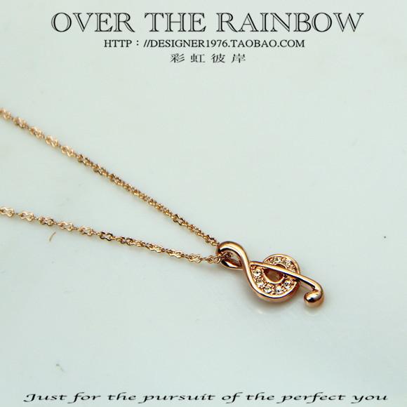 Music 18k 14k fashion vintage necklace female necklace